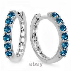 0.33 Carat (ctw) 14k White Gold Round Blue Diamond Ladies Huggies Hoop Earrings