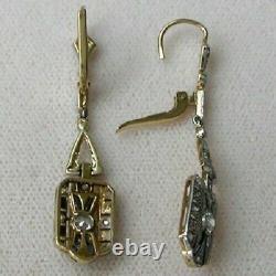 0.35 Carat Blue Sapphire Round Diamond Art Deco Earring 14K White Gold FN 925 SS
