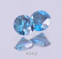 0.40 Carat Fancy Blue Natural Round Diamond Loose PAIR Real Image Clean ASAAR