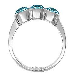 0.45 Carat Blue 3 Stone Round Diamond Solitaire Engagement Ring 14K White Gold