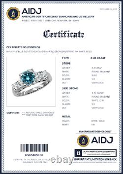 0.45 Carat Blue SI2 5 Stone Round Diamond Engagement Ring 14K White Gold
