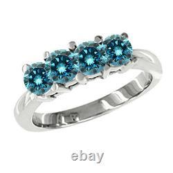 0.50 Carat Blue 4 Stone Round Diamond Solitaire Engagement Ring 14K White Gold