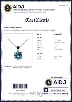 0.50 Carat Blue Diamond Pendant 14K White Gold Solitaire Necklace 18 Chain