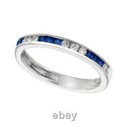 0.55 Carat Natural Sapphire & Diamond Ring Band 14K White Gold