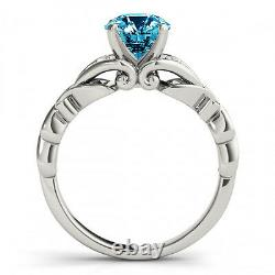 0.58 Carat Fancy Blue Diamond SI2 Solitaire Promise Ring Stylish 14k White Gold