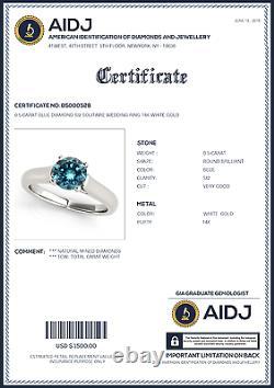 0.5 Carat Blue Diamond SI2 Solitaire Wedding Ring Stunning Deal 14k White Gold