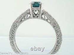 0.64 Carat Enhanced Blue Diamond Engagement Ring 14k White Gold Vintage Style