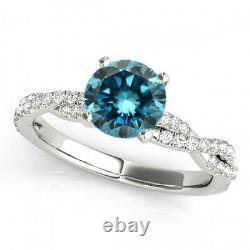0.69 Carat Blue Diamond SI2 Solitaire Wedding Ring Stunning Deal 14k White Gold