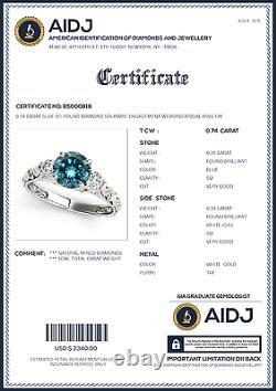 0.74 Carat Blue SI2 Round Diamond Solitaire Engagement Wedding Bridal Ring 14k