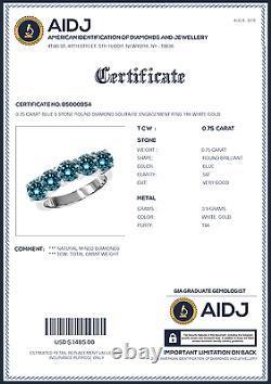 0.75 Carat Blue 5 Stone Round Diamond Solitaire Engagement Ring 14K White Gold