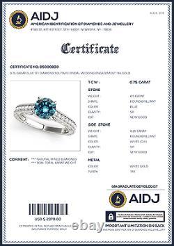 0.75 Carat Blue SI1 Diamond Solitaire Bridal Wedding Engagement 14k Gold Ring