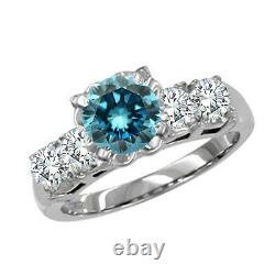 0.7 Carat Blue SI2 Round Diamond Solitaire Engagement Ring 14K White Gold