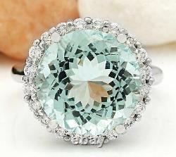 10.23 Carat Natural Aquamarine 14K Solid White Gold Diamond Ring
