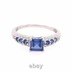 10k Karat White Gold Sapphire Ring Ceylon Square Princess