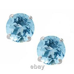 14K Solid White Gold March Aquamarine Round Shape Stud with Screw Back Earring