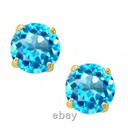 14K Solid Yellow Gold Blue Topaz Round Shape with Screw Back Stud Earrings
