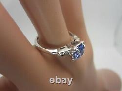 14K White Gold 0.50 Carat Tanzanite and Diamond Ring 0.58 CT TW Engagement
