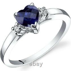 14K White Gold Created Sapphire Diamond Heart Ring 1.00 Carat Size 7