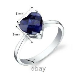 14K White Gold Created Sapphire Heart Solitaire Ring 2.50 Carat Size 7