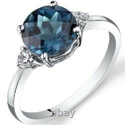 14K White Gold London Blue Topaz Diamond Ring 2.25 Carat Round Cut Size 7