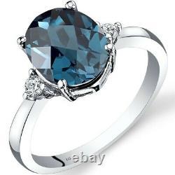 14K White Gold London Blue Topaz Diamond Ring 2.75 Carat Oval Cut Size 7