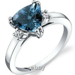14K White Gold London Blue Topaz Diamond Ring Trillion Cut 2.00 Carat Size 7