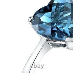 14K White Gold London Blue Topaz Heart Solitaire Ring 2.00 Carat Size 7