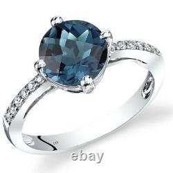 14K White Gold London Blue Topaz Solitaire Diamond Ring 2.5 Carats Size 7