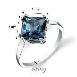 14K White Gold London Blue Topaz Solitaire Ring 2.75 Carat Princess Cut Size 7