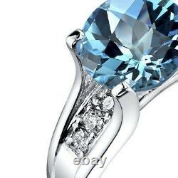 14K White Gold Swiss Blue Topaz Diamond Cathedral Ring 2.25 Carat Size 7
