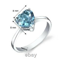 14K White Gold Swiss Blue Topaz Heart Solitaire Ring 2.00 Carat Size 7