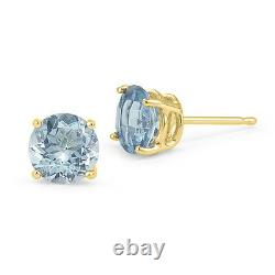 14K YELLOW GOLD BLUE AQUAMARINE ROUND SHAPE STUD PUSH BACK EARRINGS All Sizes