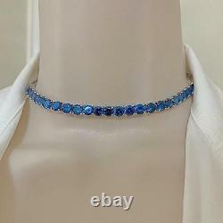 14K Yellow Gold Finish 35 Carat Round Cut Blue Sapphire Choker Tennis Necklace
