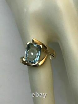 14K Yellow Gold Over Cushion Cut 3.00Carat Aquamarine Solitaire Engagement Ring