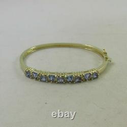 14Kt Yellow Gold Over 5 Carat Tanzanite & Diamond Bangle Bracelet