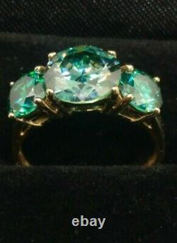 14k 3 CARATS COMBINED GENUINE MOISSANITE RING Sz 5