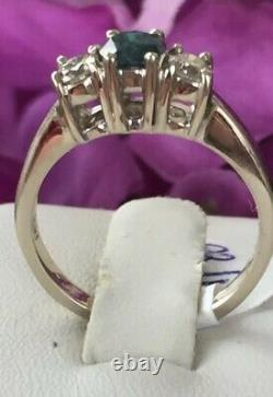 14k Blue And White Diamond Ring. 81 Carats Size 71/2