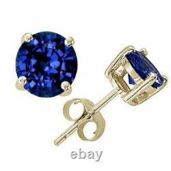 14k Solid Yellow Gold Blue Sapphire Round Cut Stud Push Back Earrings