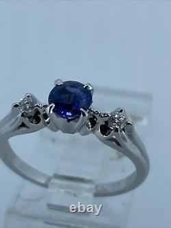 14k White Gold 0.50 carat Blue Sapphire and Diamond Ring