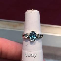 14k White Gold Oval Topaz & Round Diamond Ring Natural 1.50 Carats Size 6.25
