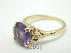 14k Yellow Gold 4 Carat Round Purple Blue Mystic Topaz Solitaire Ring Size 5.25