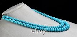 15mm Natural Real Turquoise Round Beads 2 L 429 Carats Gemstone Silver Necklace