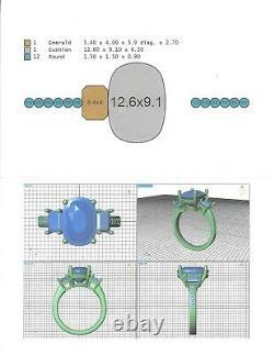 18K White Gold 4.74 Carat GIA Certified Paraiba Tourmaline & Diamond Ring, Sz 7