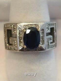 18k Solid WG 8G Men Women Ring E VS1 diamond 2.5 Carat Sapphire Center Stone