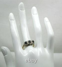 1970's Vintage Beautiful 18 Carat Gold Sapphire And Diamond Triple Cluster Ring