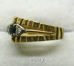 1970's Vintage Lovely 18 carat Gold Sapphire And Diamond Ring Size K. 1/2 to L