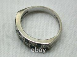 1970's Vintage Lovely 18 carat White Gold Sapphire And Diamond Ring Size K