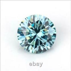 1CT 6.5mm Light Blue Loose Diamond Round Cut VS1