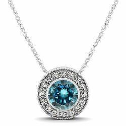 1.00 Carat Blue Diamond Halo Pendant 14K White Gold Solitaire Necklace 18 Chain