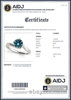 1.00 Carat Blue Round Diamond Solitaire Engagement Anniversary Ring 14K WG ASAAR